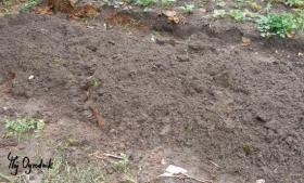 Rozłożony kompostownik mieszamy z ziemią